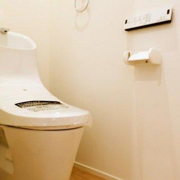 洗面台の右側とびらの中にトイレ。※写真は別棟の同間取り別部屋のものです