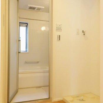 反対側を開けると脱衣所、バスルーム※写真は別棟の同間取り別部屋のものです