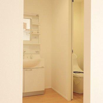 ここからサニタリー。扉はないので目隠しがあると良さそう。※写真は別棟の同間取り別部屋のものです