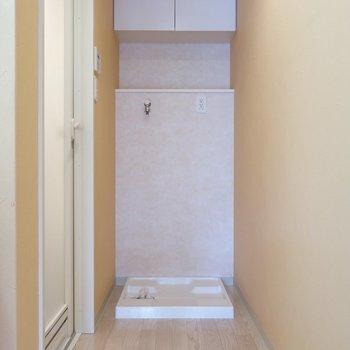 洗濯パンも脱衣スペースの奥に。上部収納もしっかりついてます。