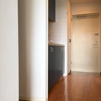 扉をあけてすぐキッチン、冷蔵庫置けます!