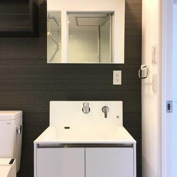 トイレ、洗面台、そして脱衣所を兼ねています※写真は3階の似た間取りのお部屋(別棟)です