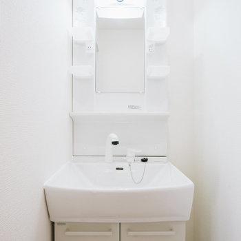 洗面台は収納たっぷりの便利なタイプ※写真は同間取り別部屋