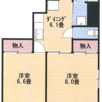 収納たっぷりな2DKのお部屋。