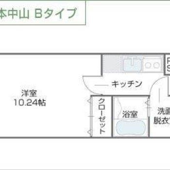 バルコニー付の1Kのお部屋です※図面は反転間取りのものです