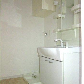 向かいは、脱衣所。洗面台や洗濯機置場がまとまってるがgood※写真は通電前のものです・フラッシュを使用しています※写真は1階の同間取り別部屋のものです