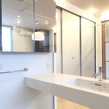 洗面台。顔洗うの恥ずかしそう。※写真は1階の反転間取り別部屋です。