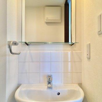 手前から。洗面台。鏡前の小棚がおしゃれ。