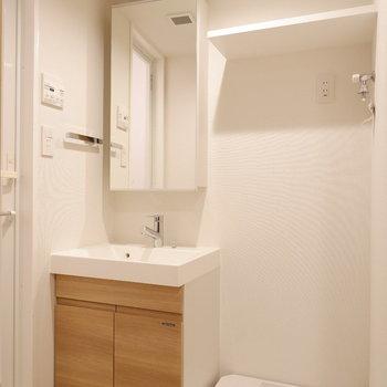 サニタリースペースには洗面台と洗濯機置場が。