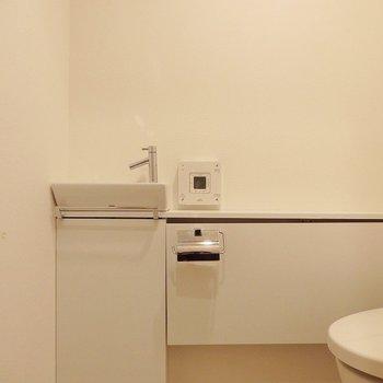 ミニ手洗いもついています。※写真は同間取り別部屋のものです。