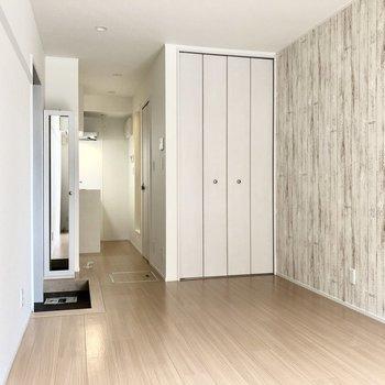 玄関と洋室を布を垂らして仕切りたいなあ※写真は通電前のものです