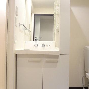 洗面台は収納スペースが多くて使いんですよ。(※写真は13階の反転間取り別部屋のものです)