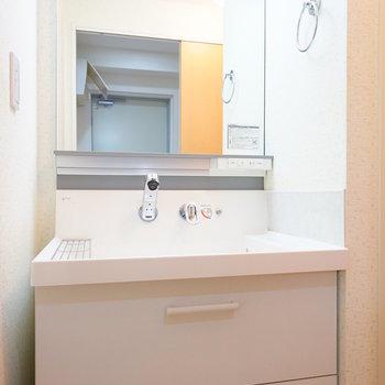 独立洗面台もゆったり!※写真は4階の同間取り別部屋のものです