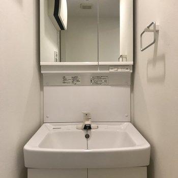 つづいてトイレの横には洗面台。鏡の中は収納有りますよ!