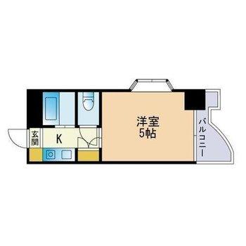 コンパクトな5帖のワンルームです。(※キッチン横の収納は、洗濯機置場に変更済です)