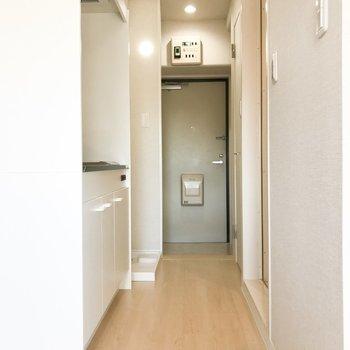 廊下の左側にはキッチンがあってその隣に洗濯機置場が。右側にはシャワールームとトイレが有ります。