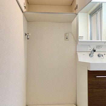 洗面室には大きな棚があり、タオル等をしまっておけそうですね。