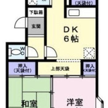 間取りは3DK、バルコニーが2つあるお部屋です。