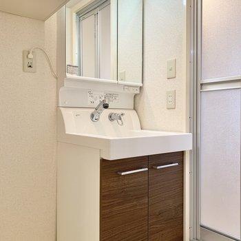 お隣の洗面台も収納力が高め。