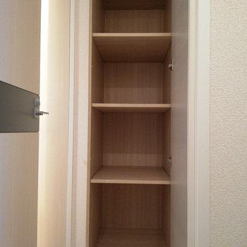 と、思ったら廊下に収納を発見しました!※写真はクリーニング前のものです