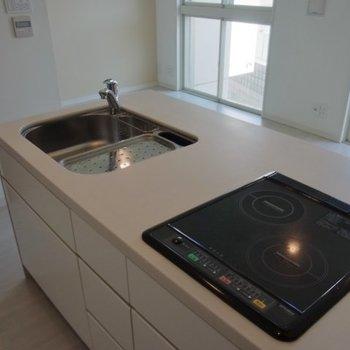 広めのカウンターキッチン※写真は2階の同間取り別部屋のものです