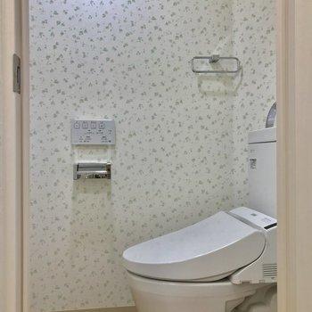 トイレも入り口に対して斜め。ウォシュレット付きです◎