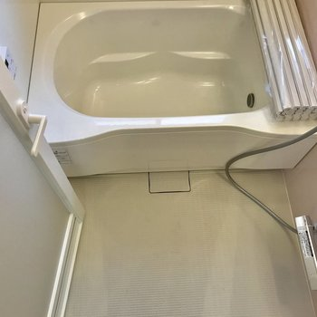 ゆったりとした足場のある浴室。浴槽の深さも十分