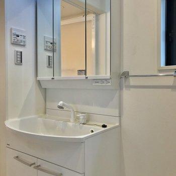 コンパクトな洗面台。隣にタオル掛けがあるのは嬉しい