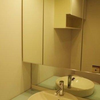 鏡が大きいです!水色もキュート。 ※写真は2階似た間取り別部屋のものです。