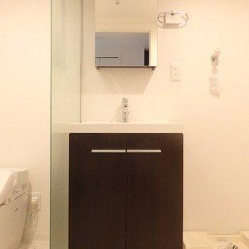 鏡の中も収納出来ちゃいます!※写真は3階の反転間取り別部屋のものです