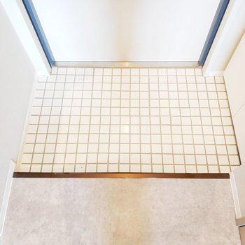 ありそうでなかった白タイルの玄関※写真は別部屋似た間取りのものです