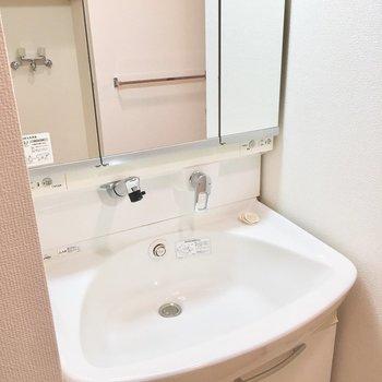 シャワーヘッドと三面鏡の洗面台。