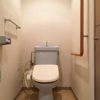 蓋だけ白の水色トイレ。手前に収納が埋め込まれていました。