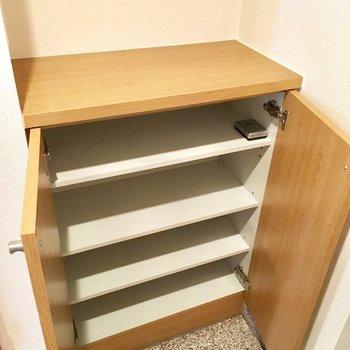 靴箱は可動棚なのでブールも収納できますね。※写真は3階の同間取り別部屋ものです