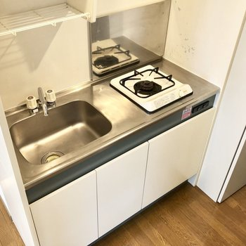 ガスコンロ1口のシンプルキッチン。