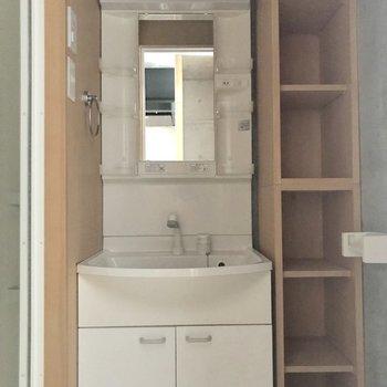 サニタリーの扉を開けると洗面台※写真は通電前のものです