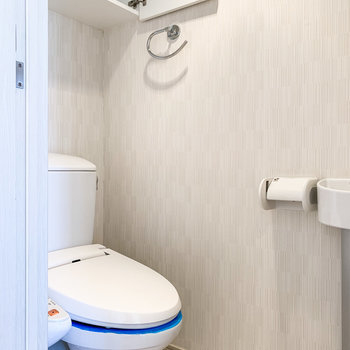 トイレには小さな洗面台に収納もありましたよ。
