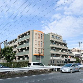 大通りに面したこちらのグリーンとオレンジのマンションです。