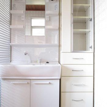 独立洗面台だけなく、収納までも!