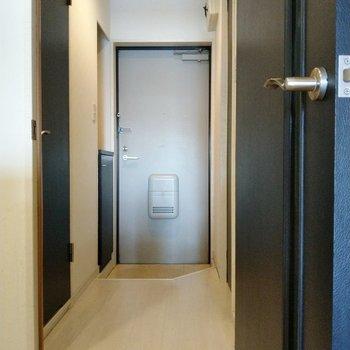 玄関もしっかりスペース。左の扉がトイレ。右に脱衣所。