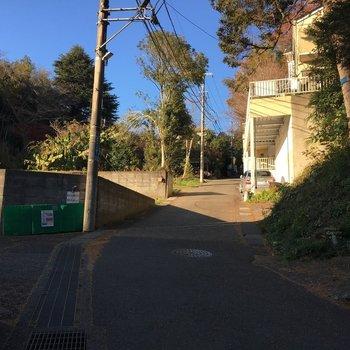 この坂道を登ります。。