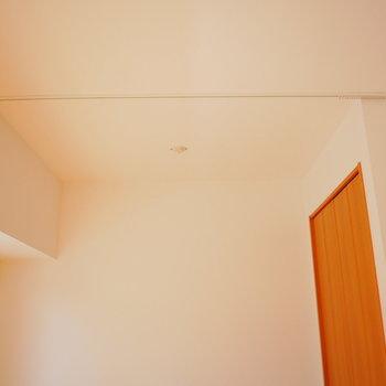 天井にレールがついていてカーテンで仕切れます!