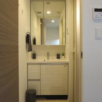 大きな鏡が見やすくていいですね※写真は5階の同間取り別部屋のものです
