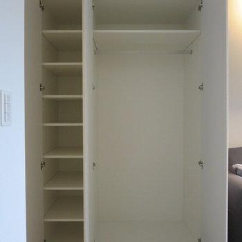 小さい棚とハンガースペース両方あるのがいいです※写真は5階の同間取り別部屋のものです