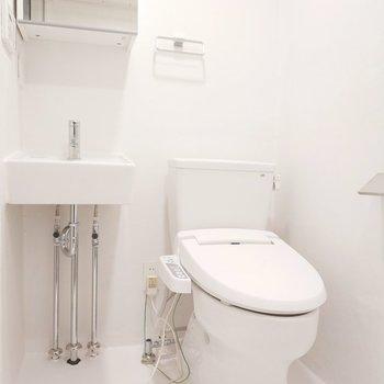 スタイリッシュな洗面台とトイレもあります