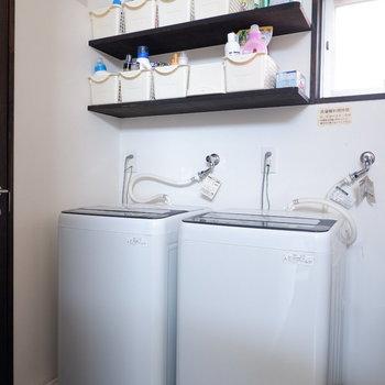 洗濯機は2階に2台あります。