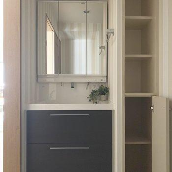 コンパクトな洗面台。隣の棚はタオルとか洗剤とかをストック。(※小物は見本です)