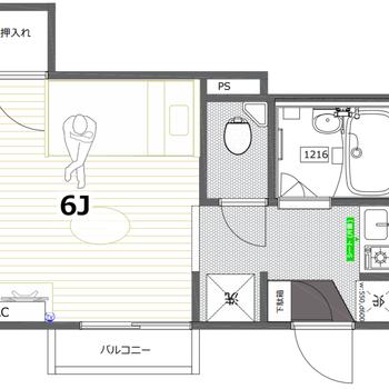 お部屋はスクエアで使いやすいワンルームタイプ