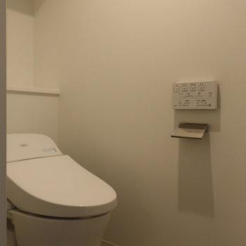 トイレは玄関手前の扉の中に。