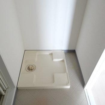 洗濯パンは洗面台のうしろに。(※写真は10階の同間取り別部屋です)